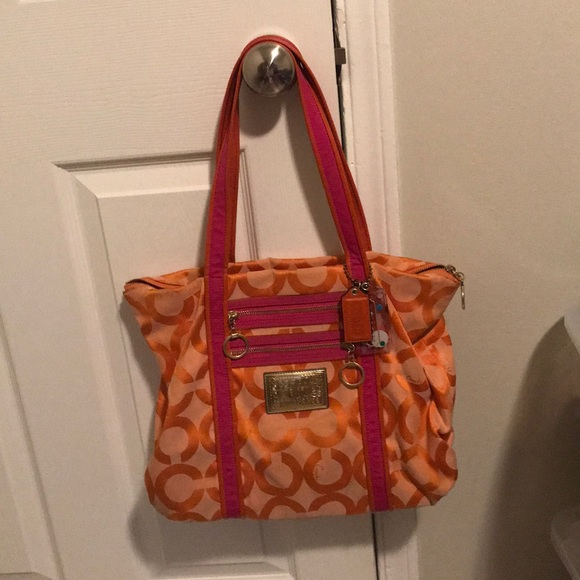 Coach Handbags - orange/pink Coach purse